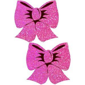Pastease Pink Glitter Bow Nipple Pasties